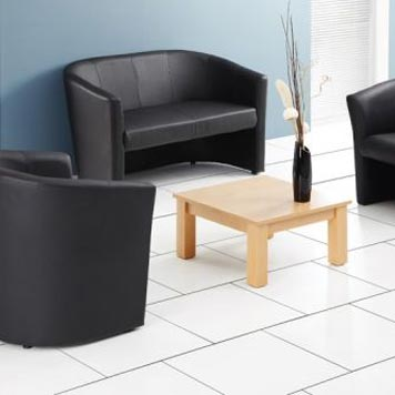 soft seating - Titan Furniture Direct - Encounter Black Leather Tub Sofa