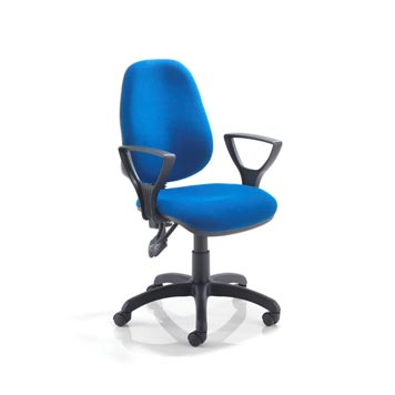 teachers chair - Titan Furniture Direct - 2 Lever Operators Chair In Blue With Fixed Arms