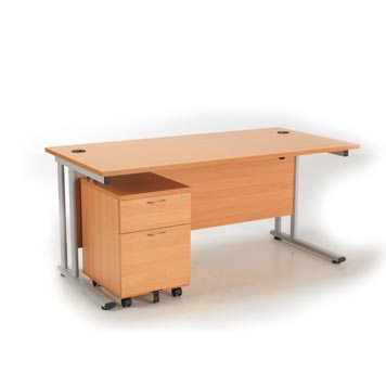 teachers desk - Titan Furniture Direct - 1200 Rectangular Desk With 2 Drawer Mobile Pedestal