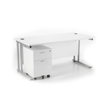 teachers desk - Titan Furniture Direct - 1400 Deluxe Rectangular Cantilever Workstation With 2 Drawer Mobile Pedestal