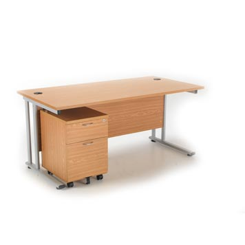 teachers desk - Titan Furniture Direct - 1600 Deluxe Rectangular Cantilever Workstation With 2 Drawer Mobile Pedestal