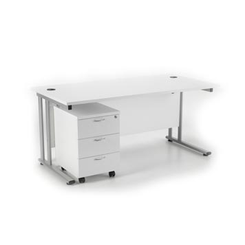 teachers desk - Titan Furniture Direct - 1400 Deluxe Rectangular Cantilever Workstation With 3 Drawer Mobile Pedestal