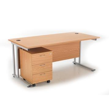 teachers desk - Titan Furniture Direct - 1600 Deluxe Rectangular Cantilever Workstation With 3 Drawer Mobile Pedestal